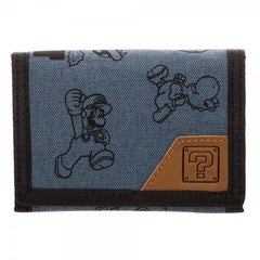 Mario Fabric Tri-fold Wallet With Snaps - Masters Of Geek