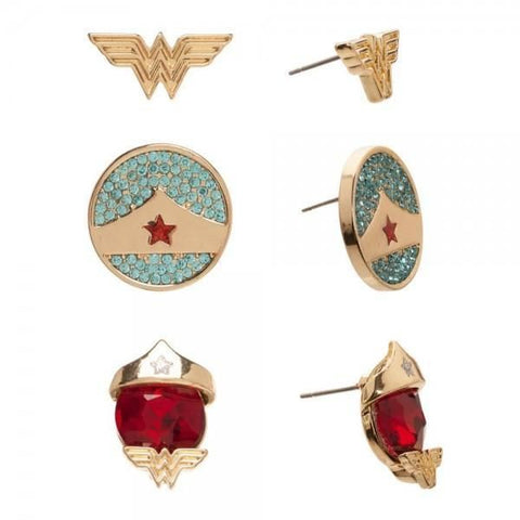 DC Comics Wonder Woman 3 Pair Stud Earrings - Masters Of Geek