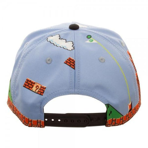 Mario 8Bit All Over Scene Snapback - Masters Of Geek
