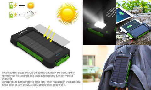 Phone Charger 10000mAh Dual USB Solar External Battery Power Bank - Masters Of Geek