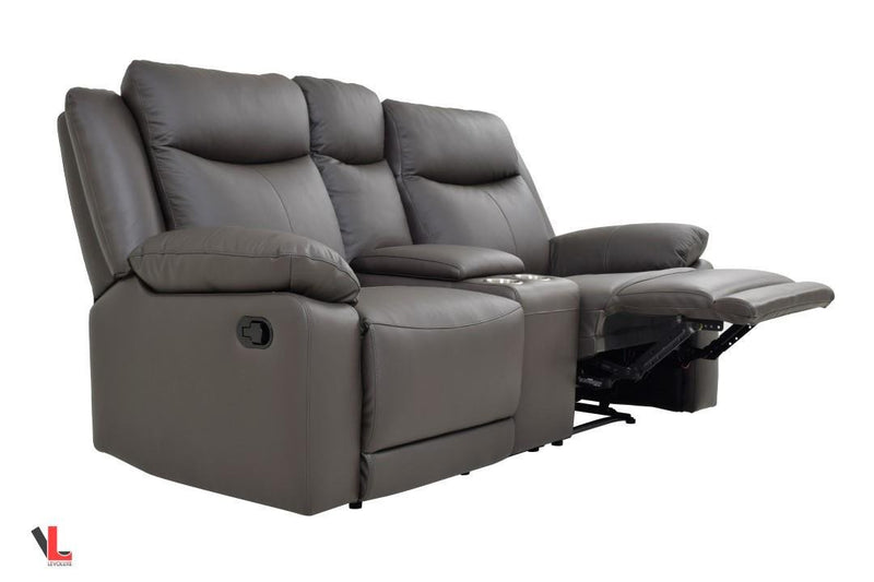 Volo Espresso Leather Reclining Loveseat With Center Console West Egg