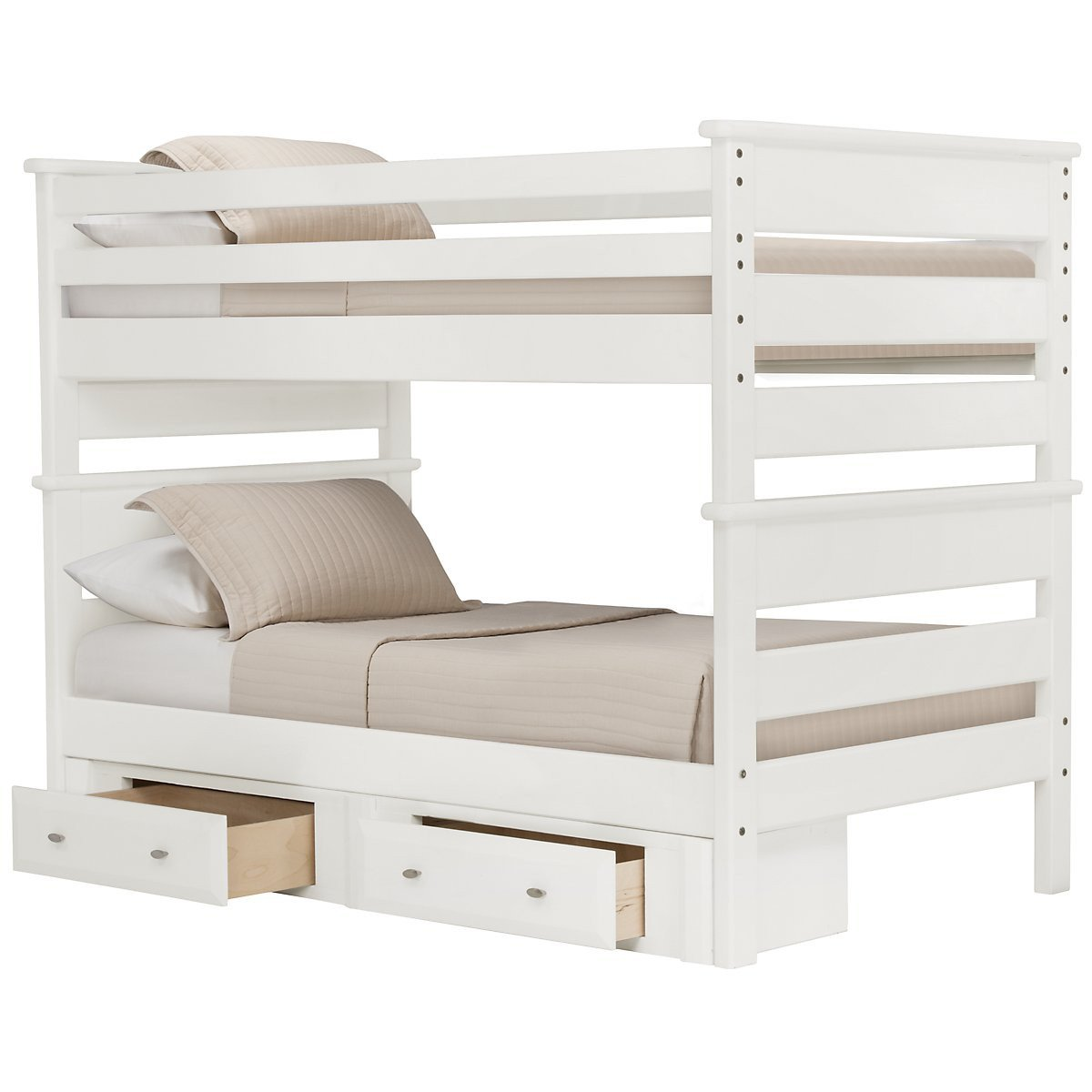 White Solid Wood Full Over Full Bunk Bed With Under Bed Storage