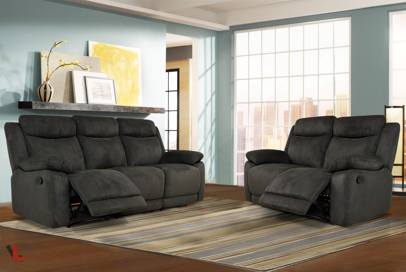 Levoluxe Volo Charcoal Fabric Reclining Sofa Loveseat And Chair