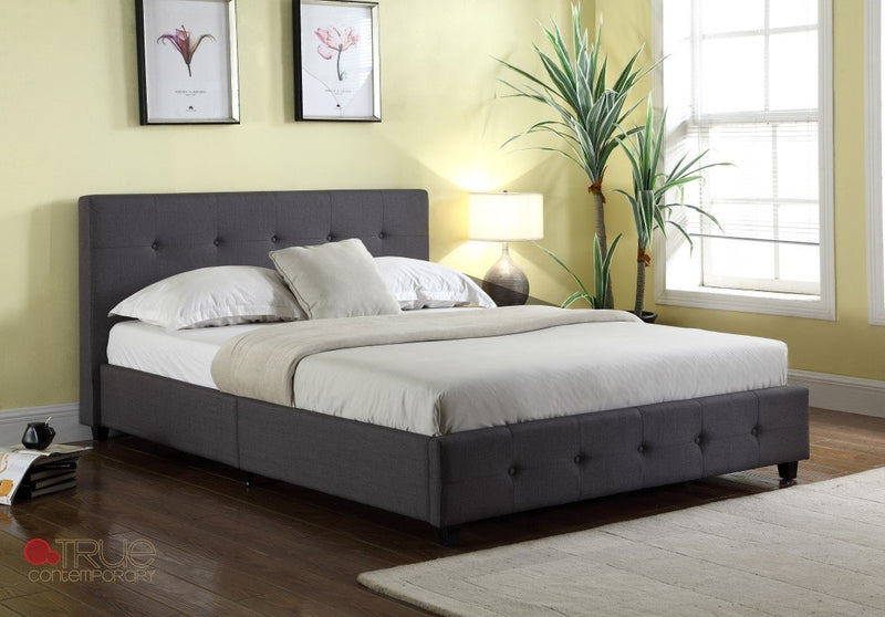 Outstanding Grace Metal Grey Linen Tufted Platform Bed Caraccident5 Cool Chair Designs And Ideas Caraccident5Info