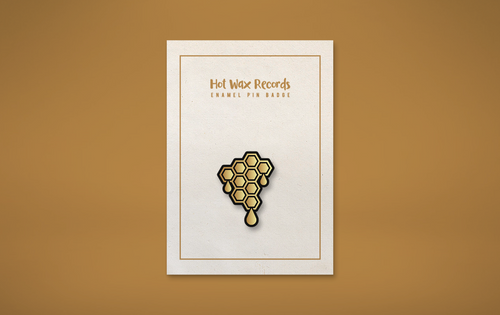Hot Wax Custom Hard Enamel 25mm Pin Badge - High Polish Gold Finish.