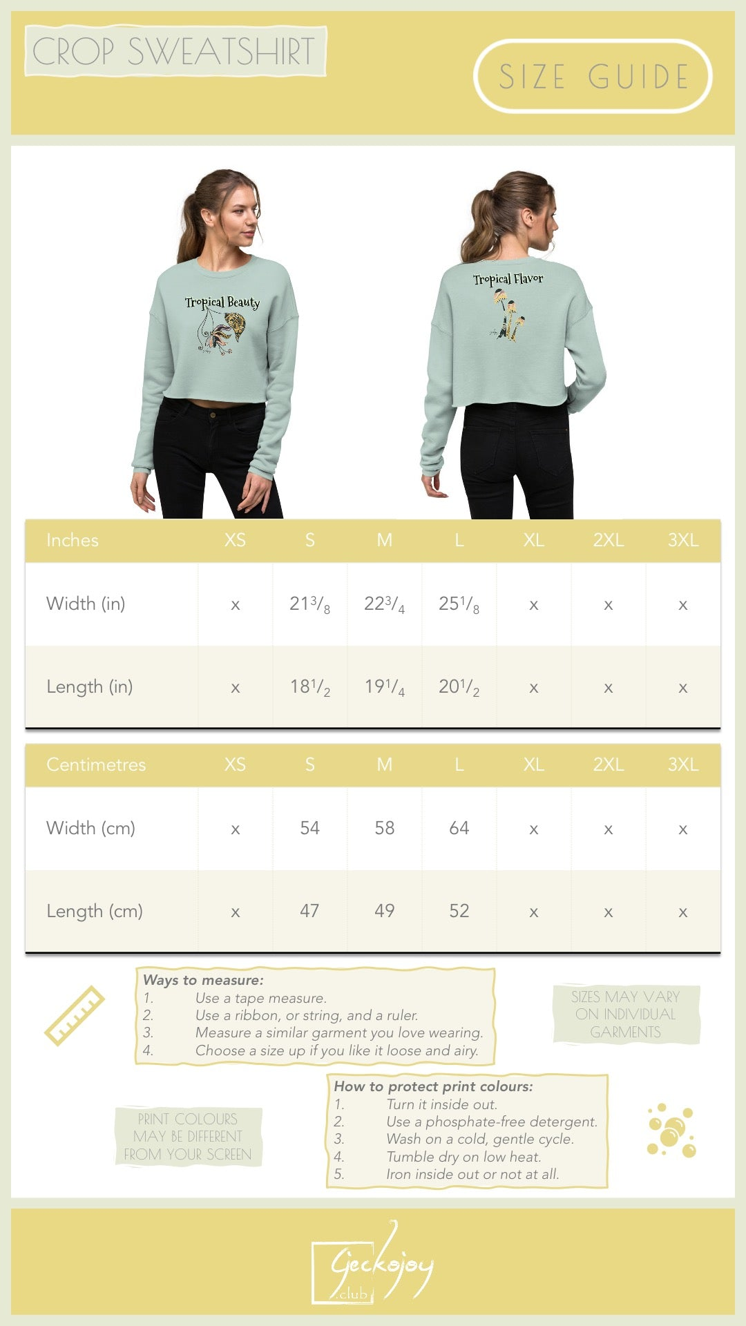 Crop Sweatshirt size guide