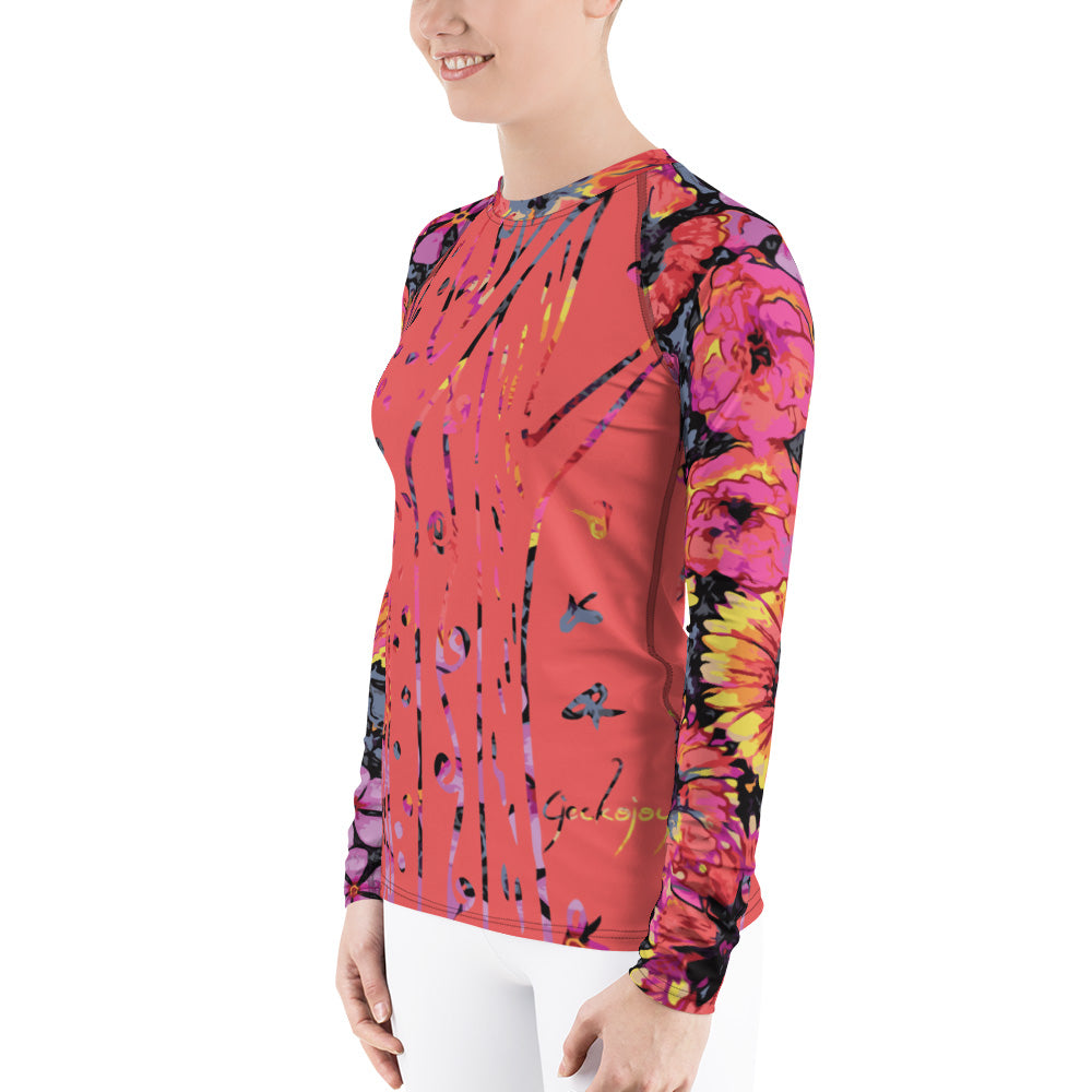 Floating Flowers Women's Rash Guard-Geckojoy
