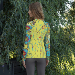 Painted Flowers Women's Rash Guard-Geckojoy