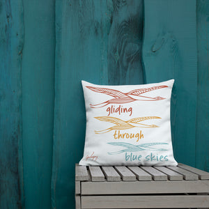 Gliding Through Blue Skies Square Outdoor Pillow-Geckojoy