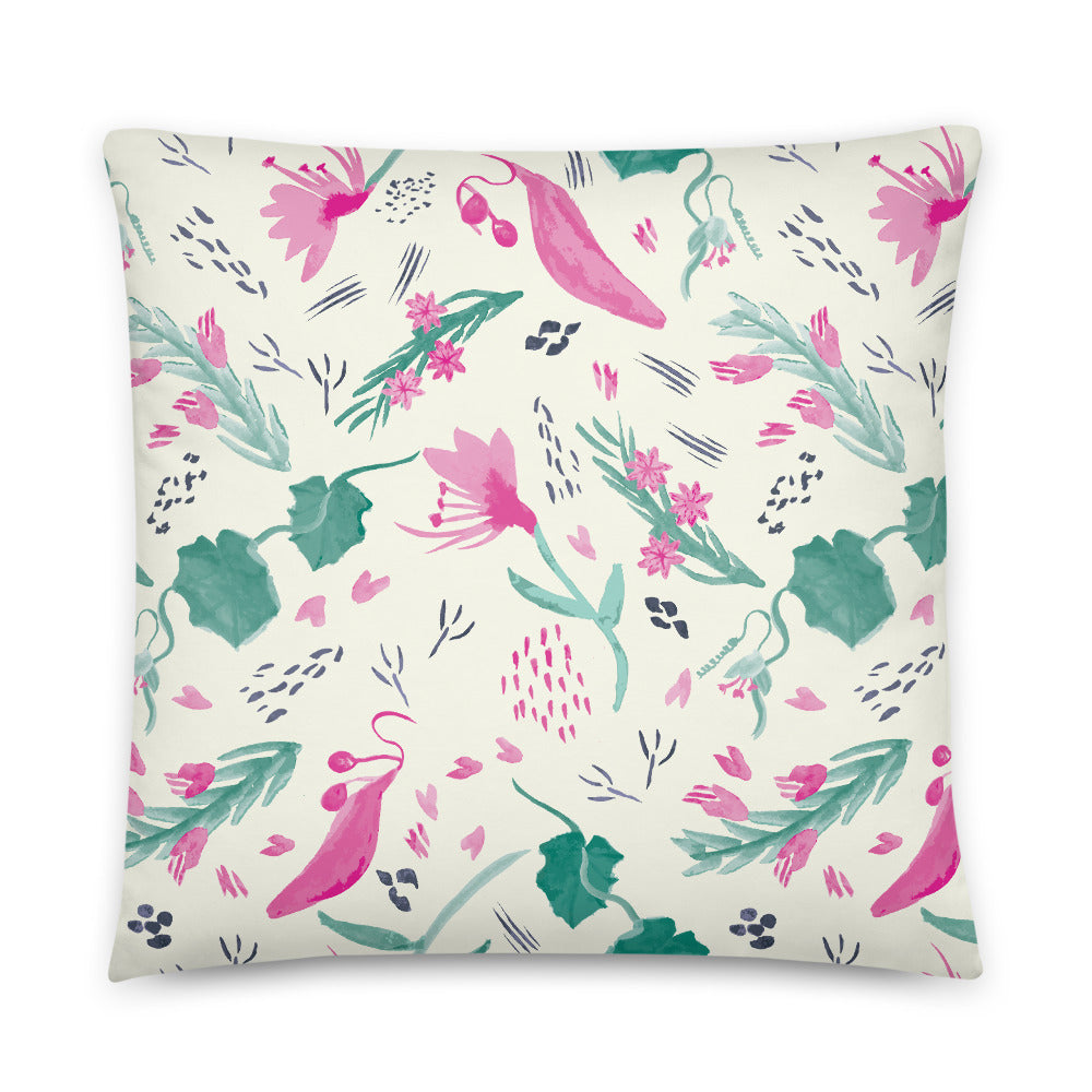 Watercolour Wildflower Indoor Pillow-Geckojoy