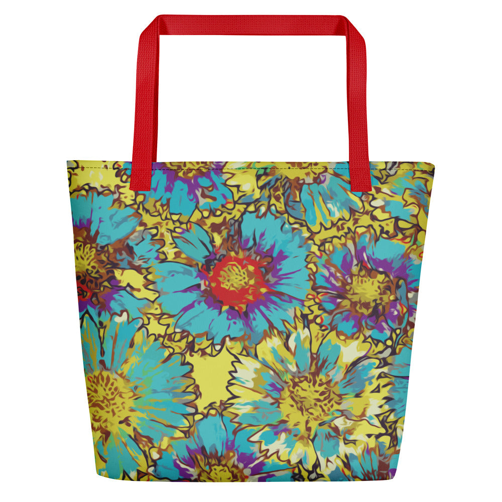 Painted Flowers Beach Bag-Geckojoy