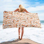 Birds of a Feather Orange Beach Towel-Geckojoy