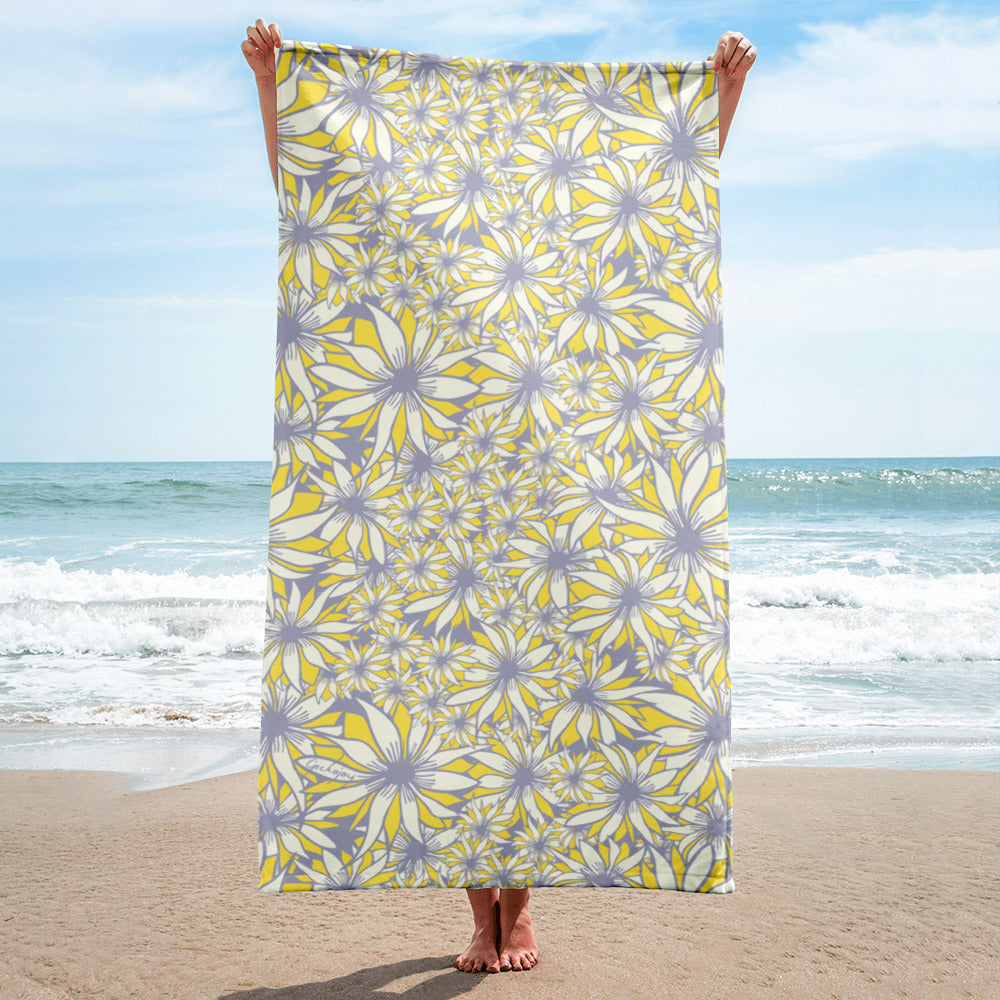 White Daisy Beach Towel-Geckojoy