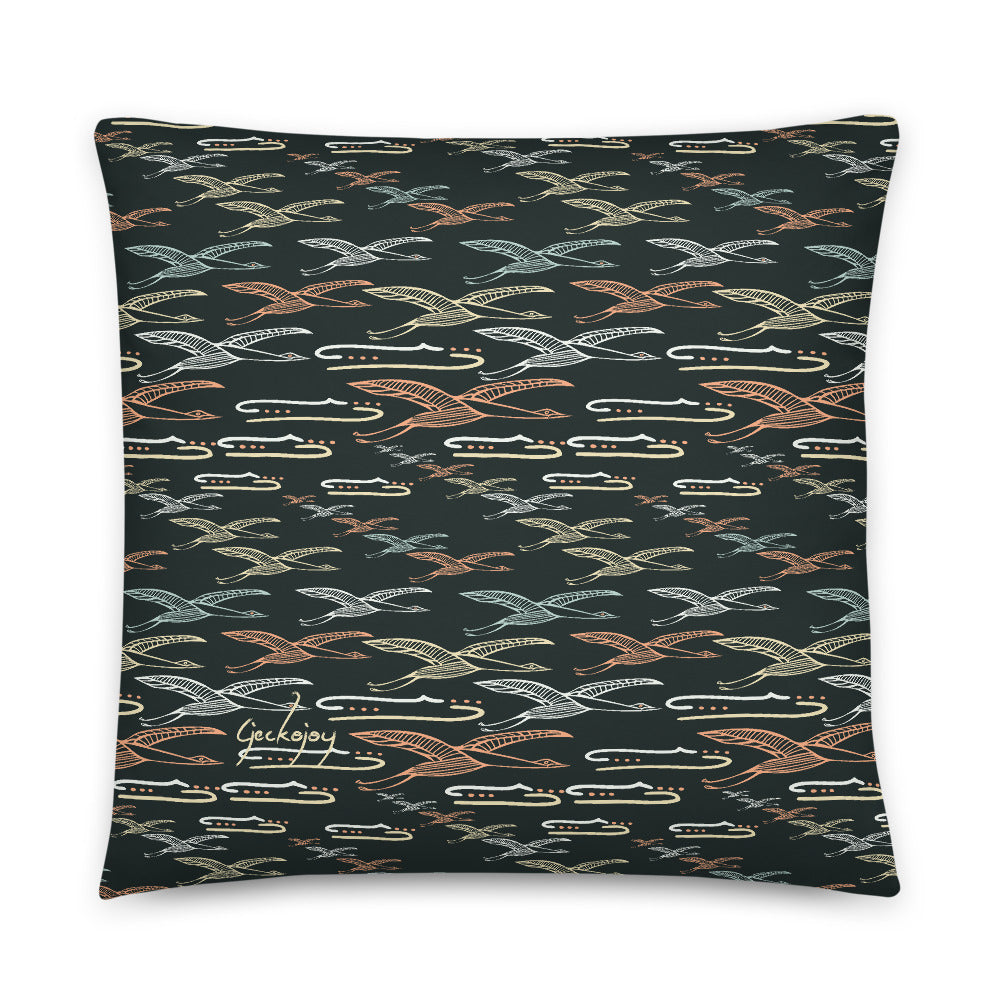 Gliding Through Blue Skies Charcoal Indoor Pillow-Geckojoy