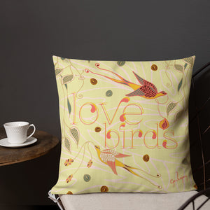 Love Birds Bright Outdoor Pillow-Geckojoy