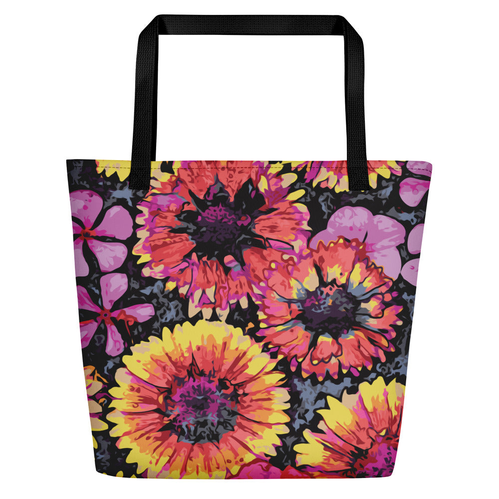 Floating Flowers Beach Bag-Geckojoy