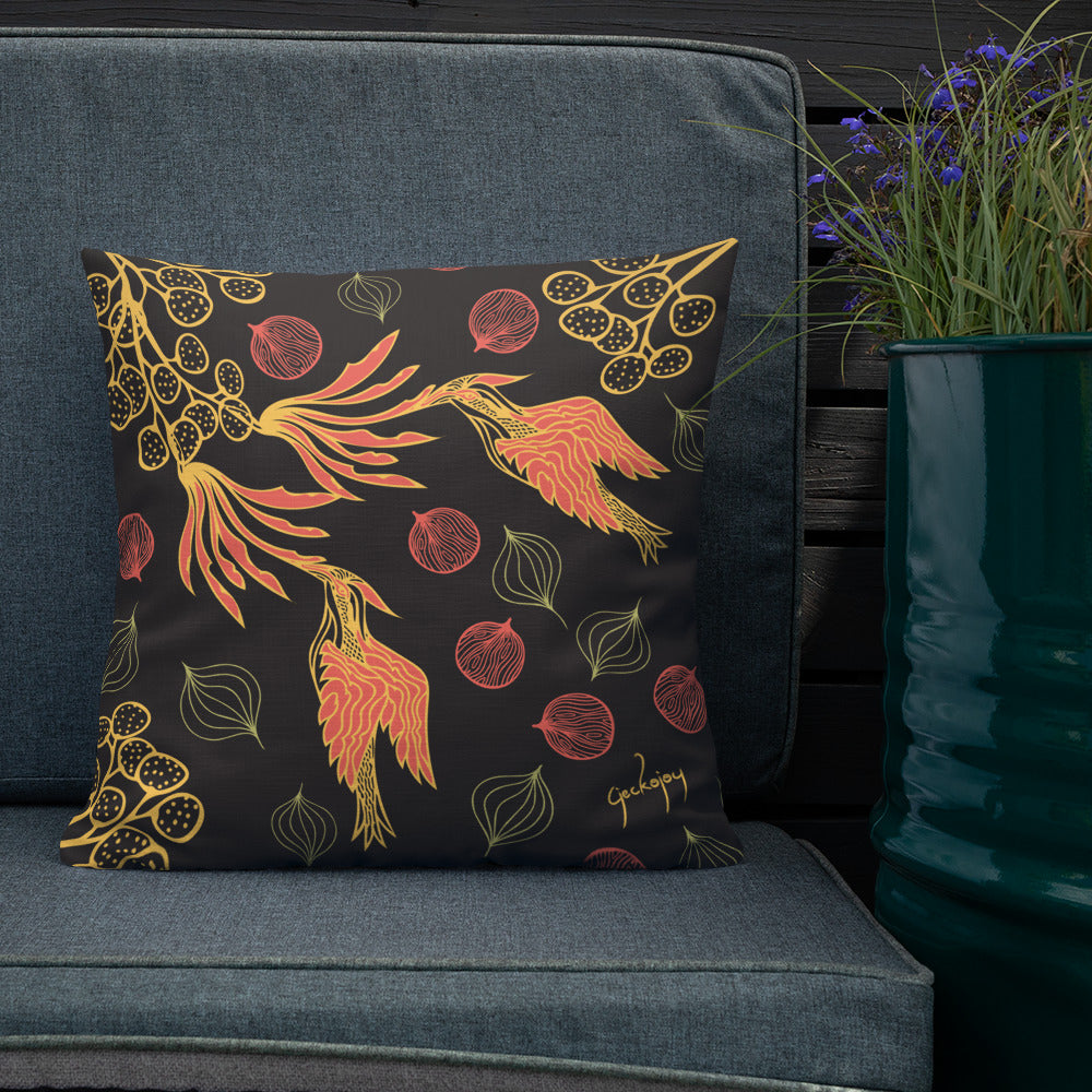 Rare Bird Dark Outdoor Pillow-Geckojoy