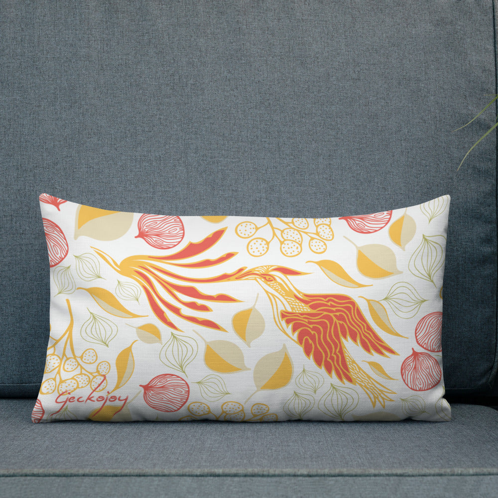 Rare Bird White Outdoor Pillow-Geckojoy