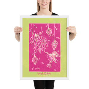 Hovering Ecstatic Shapes Framed Print-Geckojoy