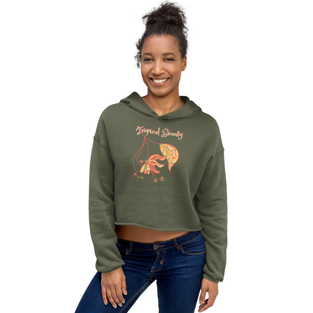Tropical Beauty Crop Hoodie-Geckojoy
