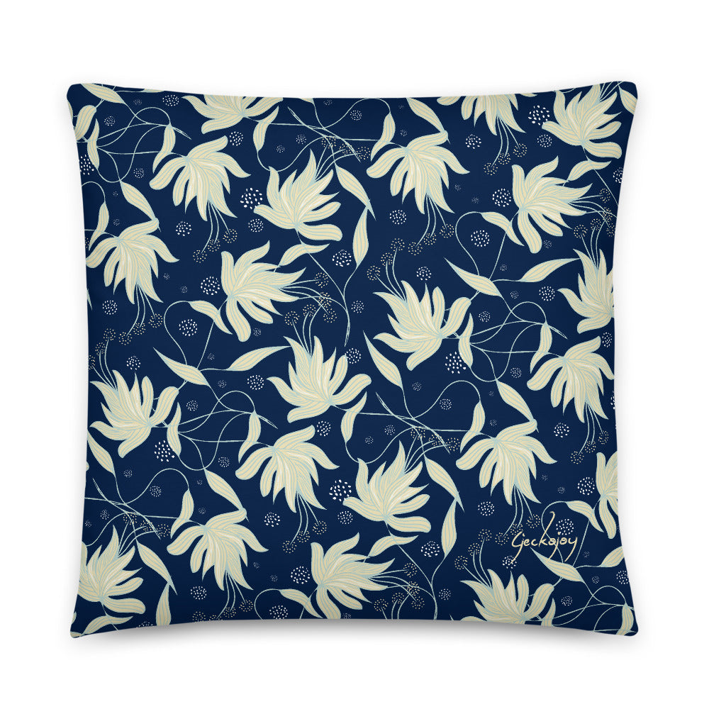 Sea Foam Hibiscus Indoor Pillow-Geckojoy