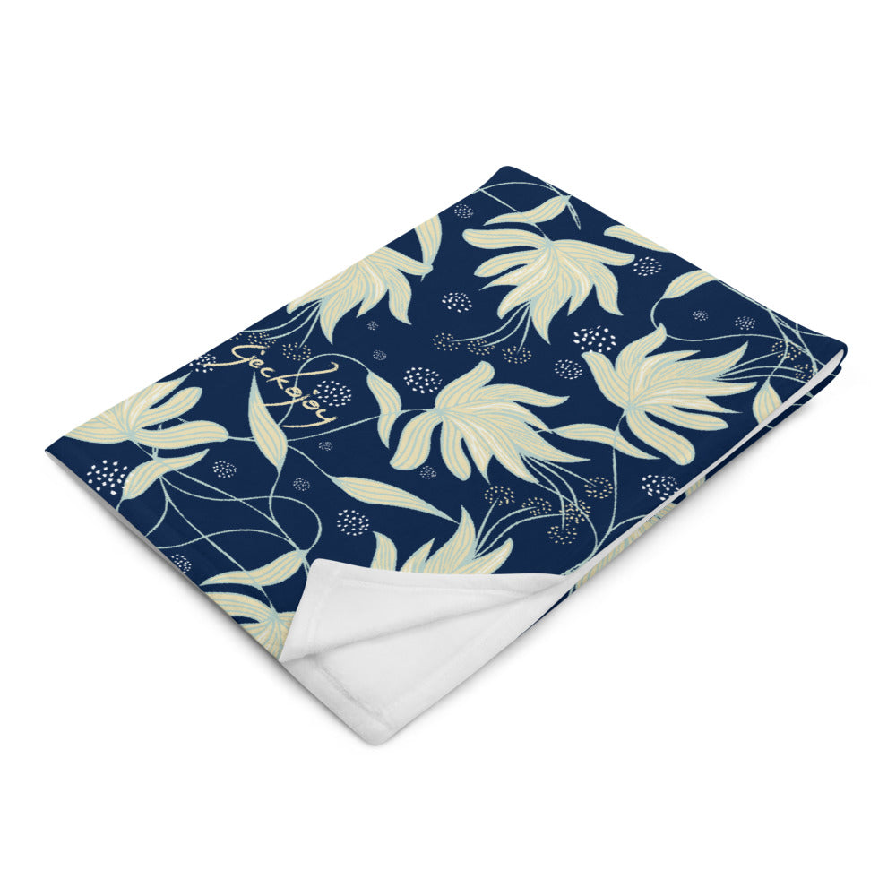 Sea Foam Hibiscus Throw Blanket-Geckojoy