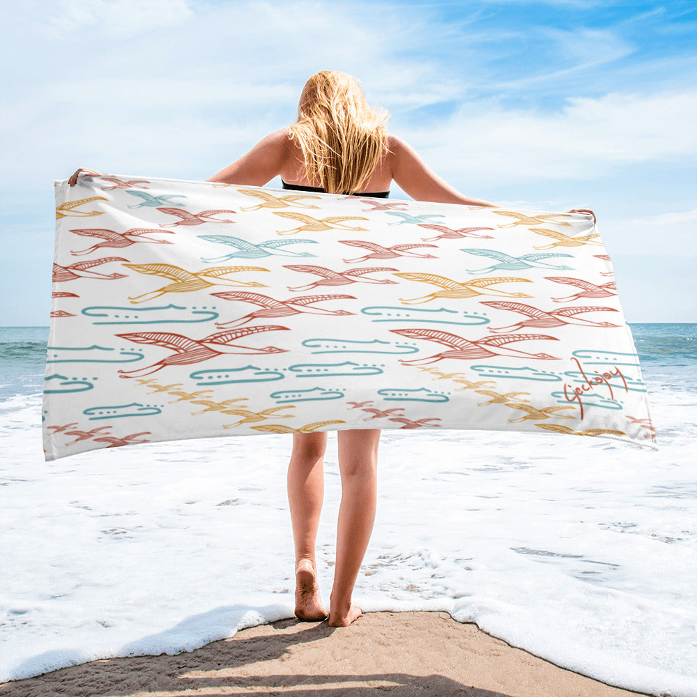 Gliding Through Blue Skies Beach Towel-Geckojoy