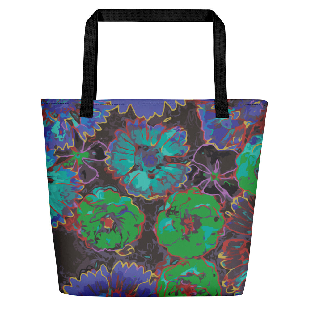 Ultramarine Flowers Beach Bag-Geckojoy
