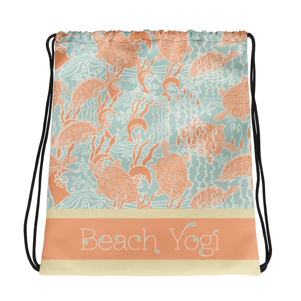 Beach Yogi Drawstring Gym Bag-Geckojoy