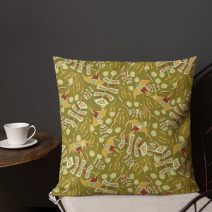 Birds of a Feather Green Outdoor Pillow-Geckojoy