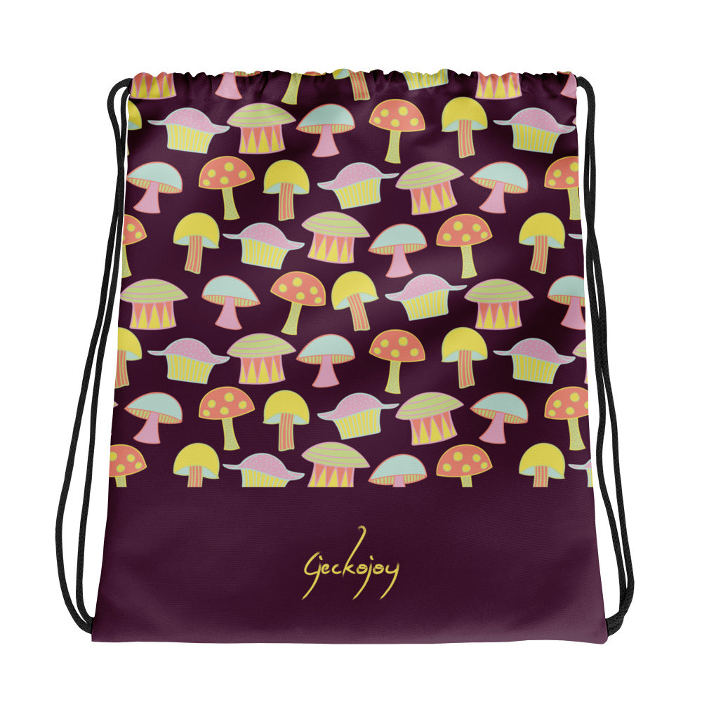 Drop Mushrooms Drawstring Bag-Geckojoy