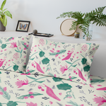 Watercolour Wildflower Pink Cotton Bed Pillowcase-Geckojoy