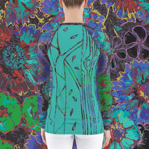 Ultramarine Flowers Women's Rash Guard-Geckojoy