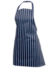 APRONS BIB STYLE Wash and Wear. BLACK, WHITE or NAVY STRIPE. Front Pocket.