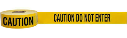 CAUTION - DO NOT ENTER BARRICADE TAPE 500 METRES.