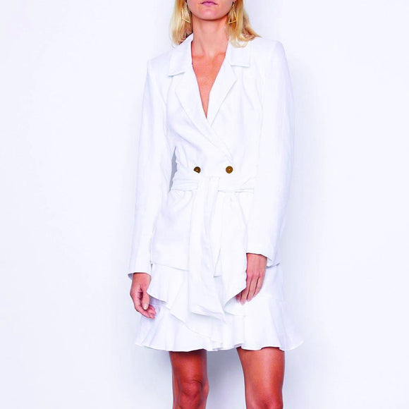 MLM LABEL Wrap Linen Blazer White