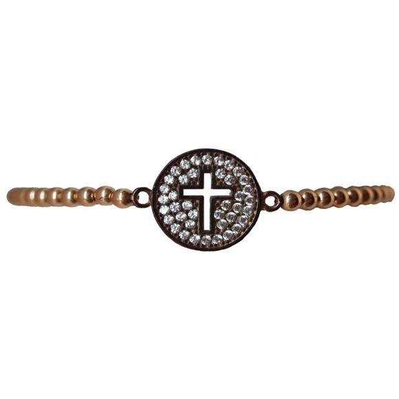 Black Pave Cut Out Cross Bracelet