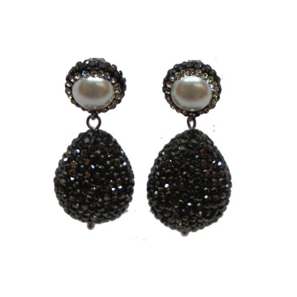 Amelia Hematite & Pearl Earrings