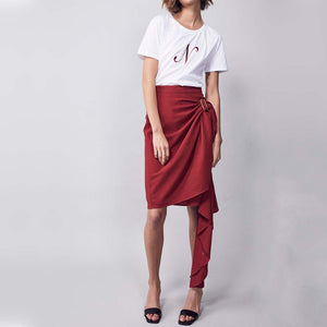 MLM LABEL Gigi Wrap Skirt Red