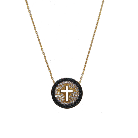 Black Pave Cut Out Cross Necklace