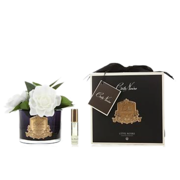 Cote Noire Gardenia Flowers Black Glass