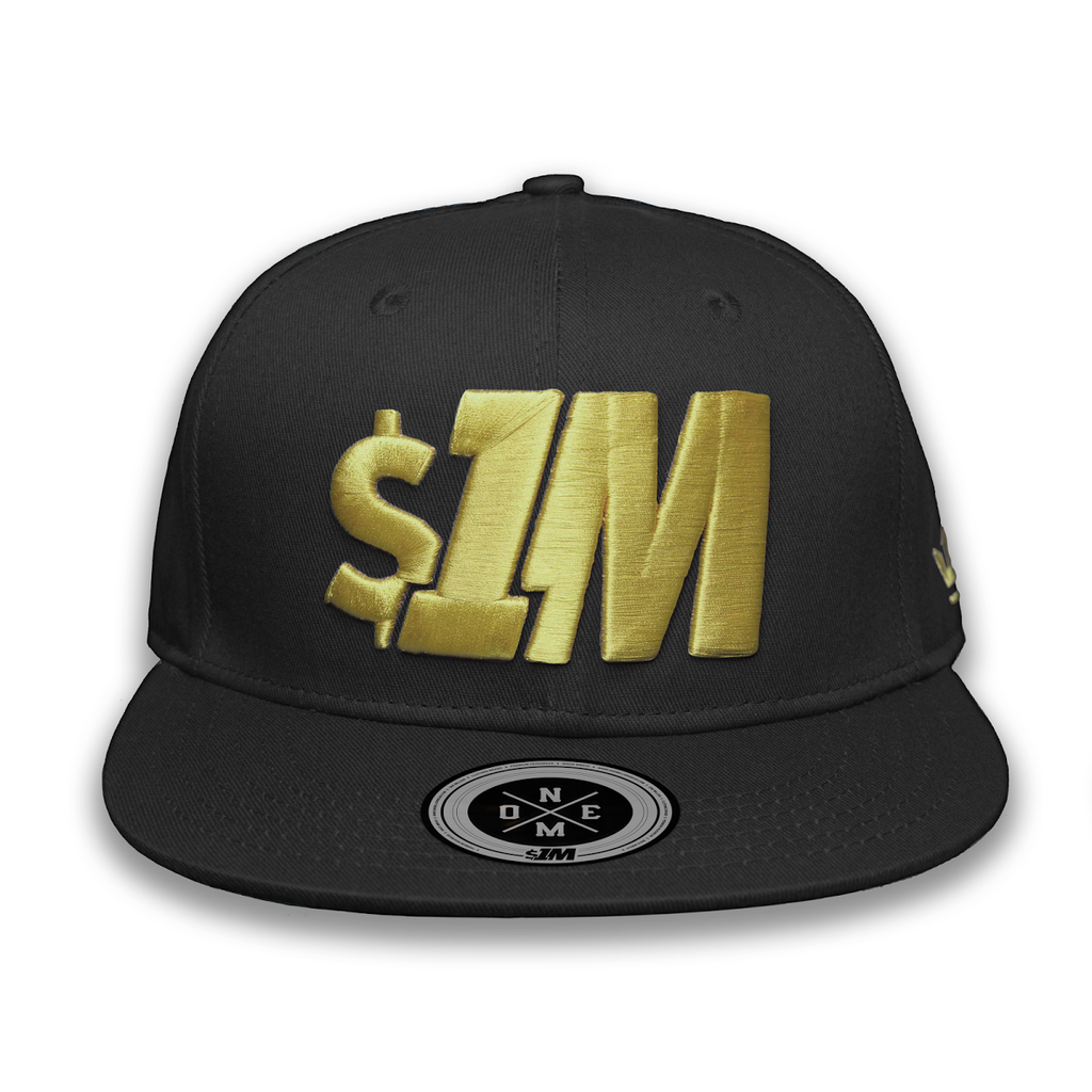 Gorra $1M Auténtica Black/Gold - 1M Clothing Co.