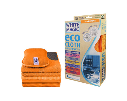 White Magic Microfibre Kitchen Care Pack - Tangerine