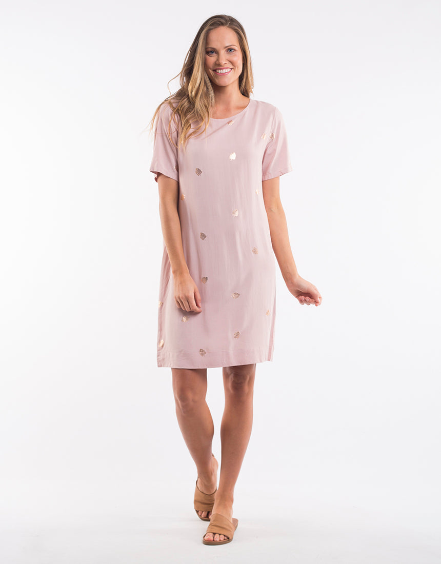 Pink Leaf Shift Dress
