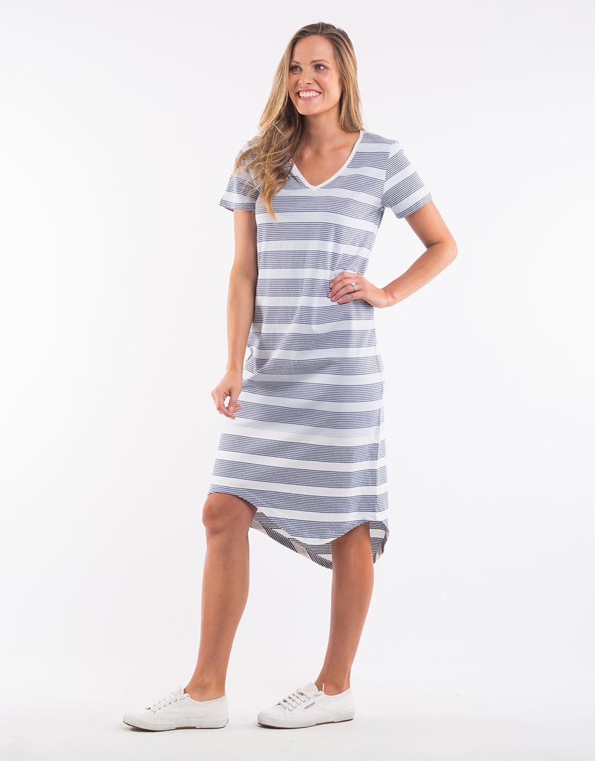 Stripe Waterline Midi Dress