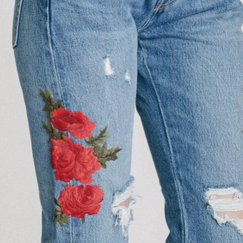 LEVI'S® 501® CROPPED TAPER WITH ROSE EMBROIDERY