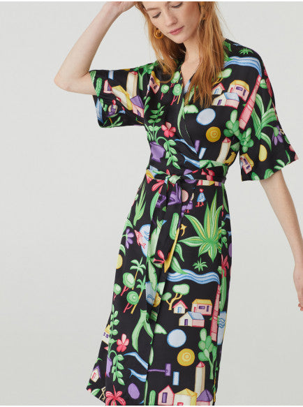 Nice Things Paloma Crossover Dress - Print
