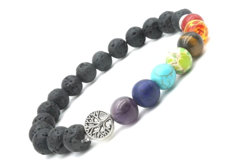 Seven Chakras Tree of Life Charms 8mm Black Lava Stone