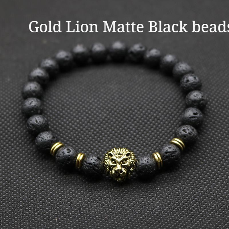 Antique Gold- Lion Head Bracelet Lava Stone Beads