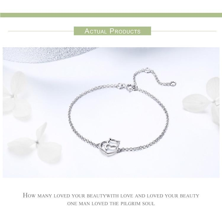925 Sterling Silver Cat And Heart Link Chain Bracelets